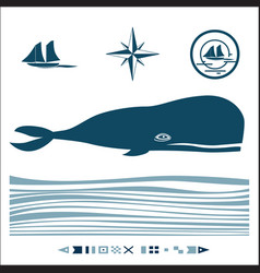 Nautical set with blue whale vector