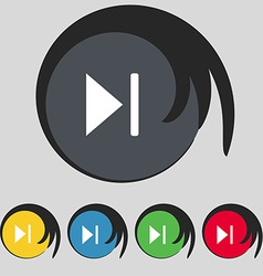 Next track icon sign Symbol on five colored vector