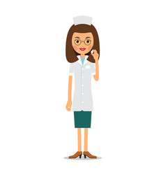 nurse tablet in hand young female doctor holds vector image