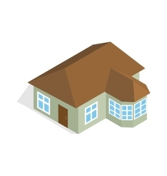 One storey house with veranda icon vector