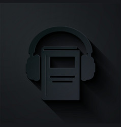 Paper cut audio book icon isolated on black vector