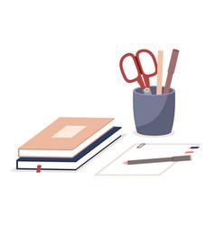 Pen holder books paper office equipment vector