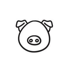 pig head sketch icon vector image