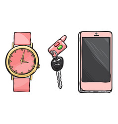 pink watch car key phone women accessories vector image