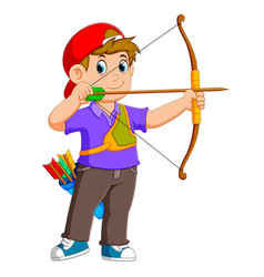 Professional archer is archering vector