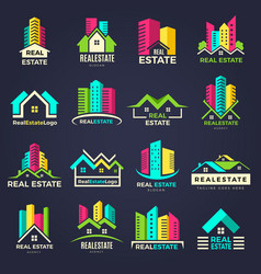 real estate badges business construction logo vector image