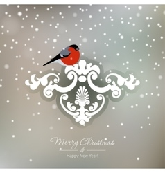 Red bullfinch on a snowy Christmas background vector image