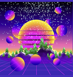 Retro synth wave cyber landscape vector