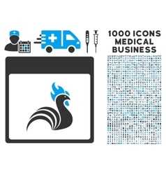 Rooster Calendar Page Icon With 1000 Medical vector