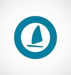 Sail boat icon bold blue circle border vector