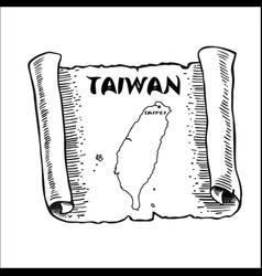 Scroll with a map of taiwan vector