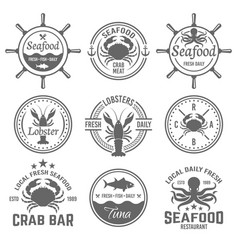 seafood menu emblems badges or labels vector image