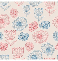 Seamless Doodle Floral Pattern vector
