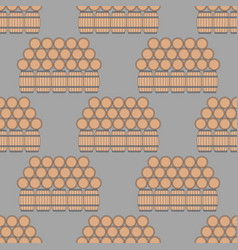 seamless pattern with wooden barrels vector image