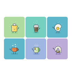 set of breakfast food flat icons cute cartoon vector image vector image