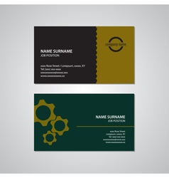 Set of two business cards with gears USA standard vector