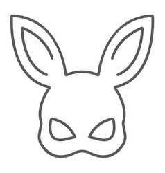 Sex rabbit mask thin line icon sex toy and adult vector
