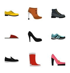 Shoes icons set flat style vector image