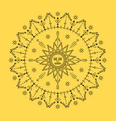 Solar mandala tribal mask with geometric ornament vector