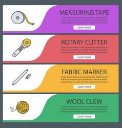 Tailoring web banner templates set vector