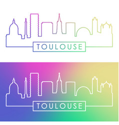 toulouse skyline colorful linear style editable vector image