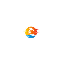Tropic ocean coconout tree holiday logo vector