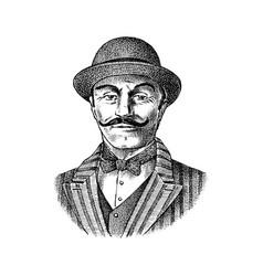 Victorian gentleman belgian man with mustache vector