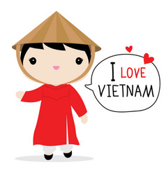 Vietnam women national dress cartoon vector