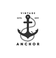 vintage anchor logo graphic design template vector image