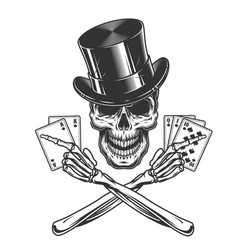 vintage monochrome skull in cylinder hat vector image