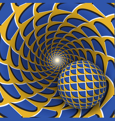 visual a ball is moving on rotating vector image