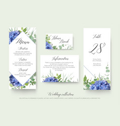 Wedding floral menu place information cards vector