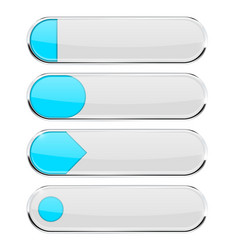 White buttons with blue tags menu interface vector