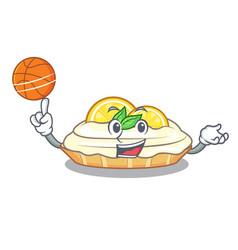 With basketball cartoon lemon cake with sugar vector