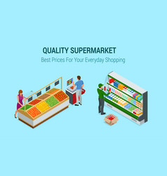 Women and man shopping vegetables and fruits in vector