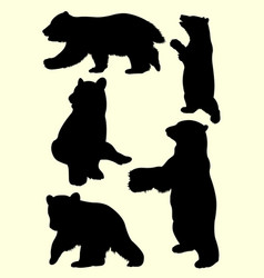 Young bears animal silhouette vector