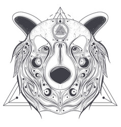 bear ornamental head with valknut line art vector image vector image