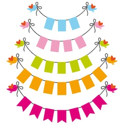 bunting flags with birds set vector image