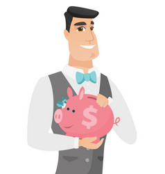 caucasian groom holding a piggy bank vector image vector image