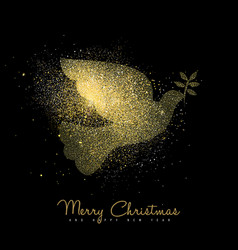 Christmas and new year gold glitter peace dove art vector