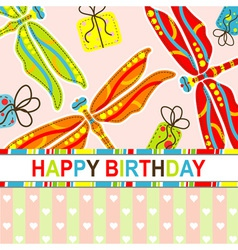 dragonfly birthday scrapbook card vector image vector image