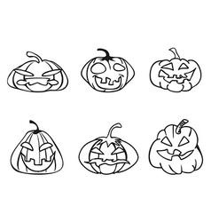 halloween pumpkin sketchy outline icons vector image vector image