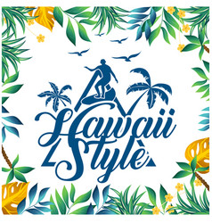 hawaii style surfing leaves coconut tree backgroun vector image vector image