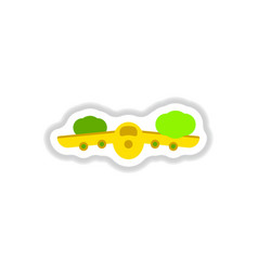 paper sticker on white background plane flying vector image