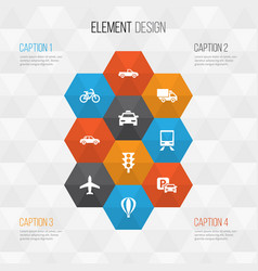 transportation icons set collection of bicycle vector image vector image