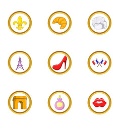 france tourist icon set cartoon style vector image vector image