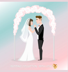groom with bride under the wedding arch vector image vector image