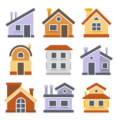 houses set flat style design vector image