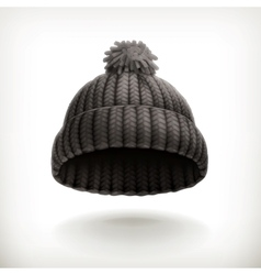 Knitted black cap vector image vector image