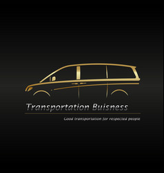 modern gold minivan in black background vector image vector image